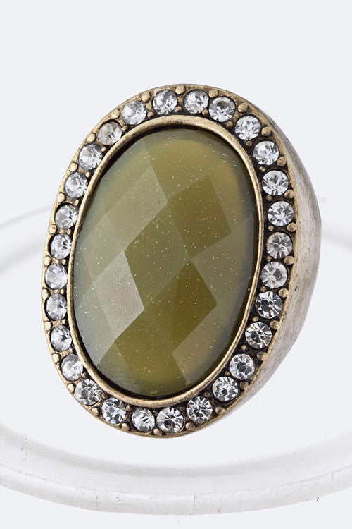 Vintage Oval Bling Stretch Ring
