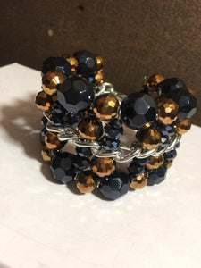 Navy and Bronze Beaded Cuff Bracelet