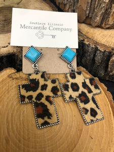 Turquoise and Leopard Cross Earrings
