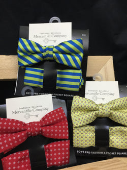 Toddler/Boys Bow Ties & Matching Pocket Square