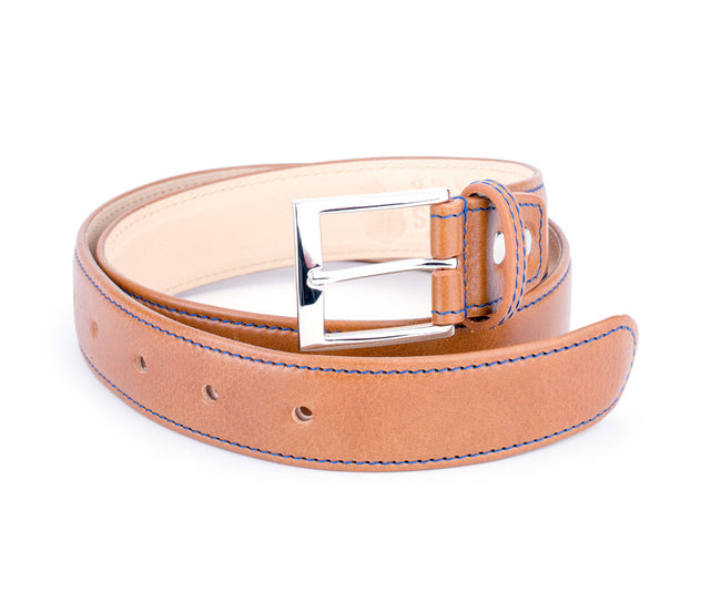 Cognac Belt / Tuscan Tango Leather / Blue Stitching