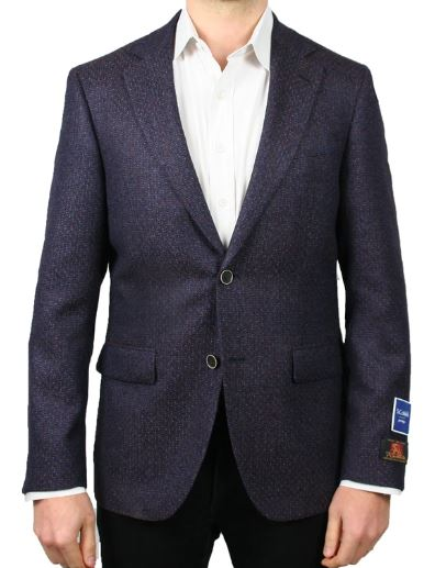 BOTTOLI COPPER AND BLUE TEXTURED NEAT JACKET