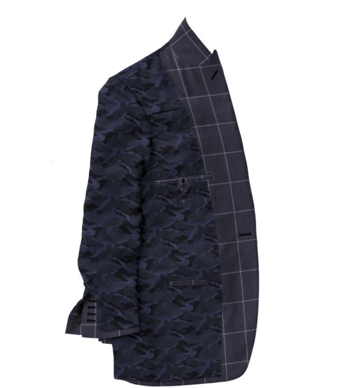 Navy Grey Windowpane