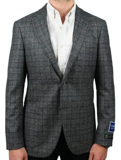 LANIFICIO GREY AND BROWN TEXTURED CHECK JACKET