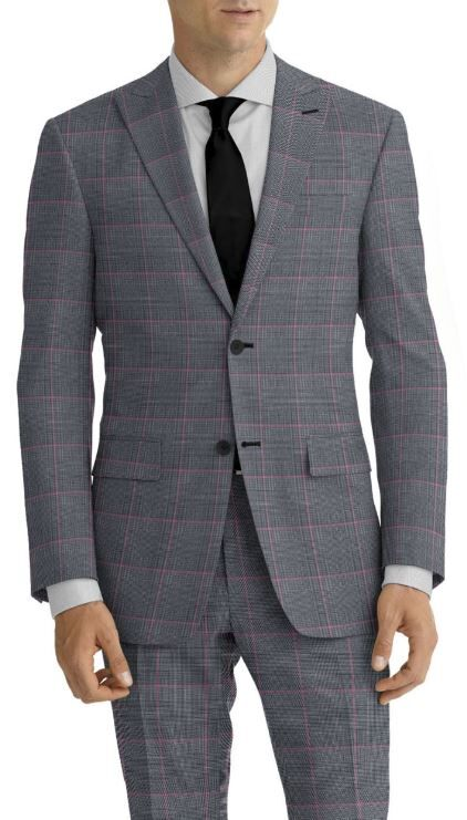 Grey Plaid Rose Windowpane