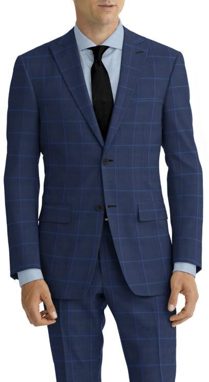 Navy Plaid Blue Windowpane