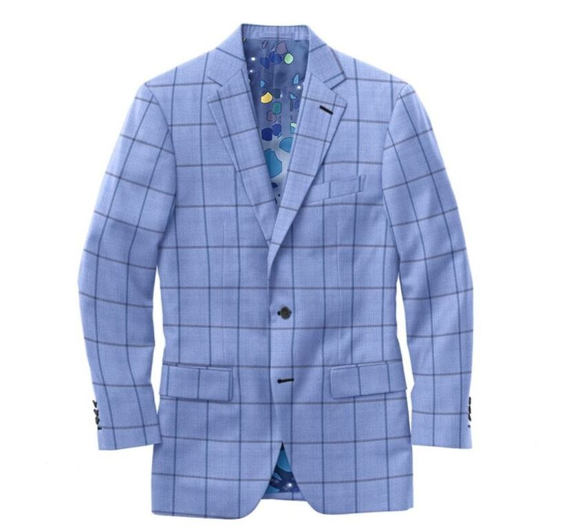 Sky Blue Navy Windowpane