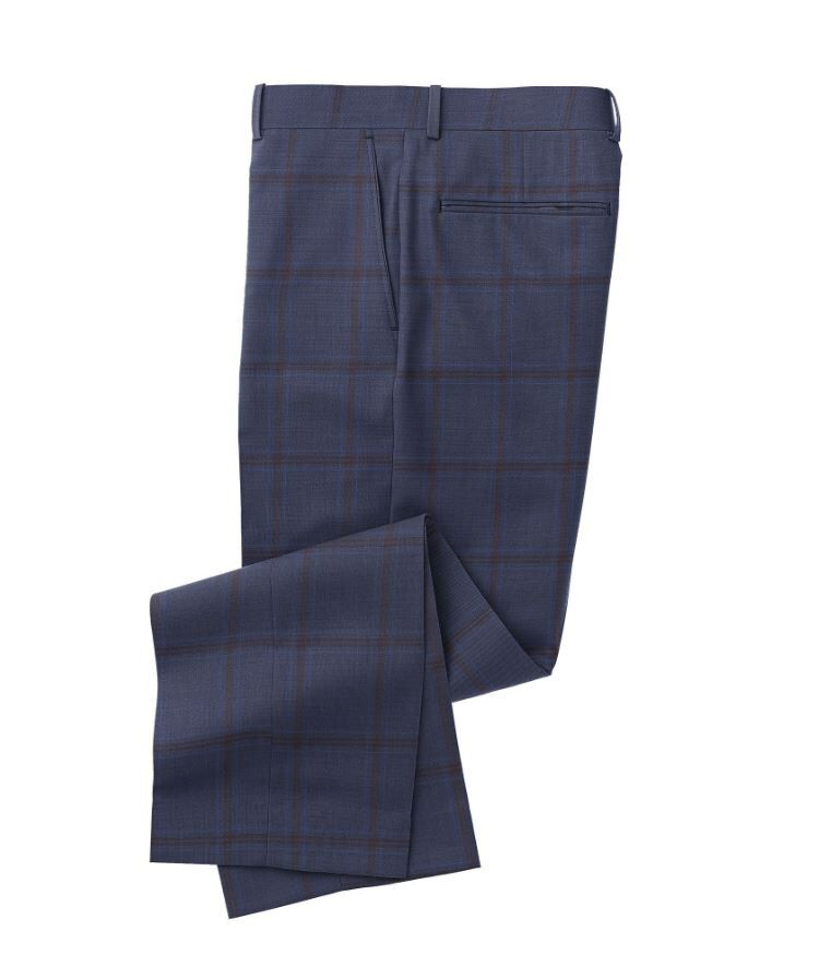 Navy Maroon Double Windowpane