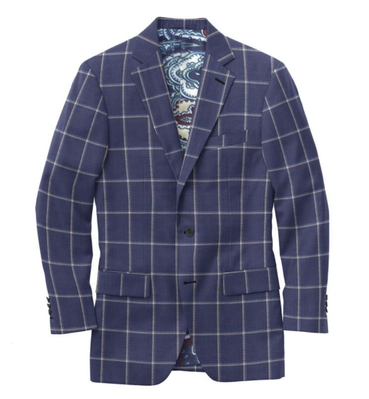 Navy Grey Blue Windowpane