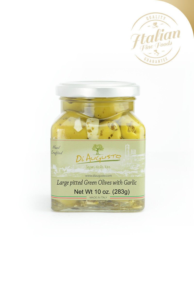 Large Pitted Green Olives with Garlic