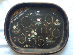 victorian metal mother of pearl trinket tray