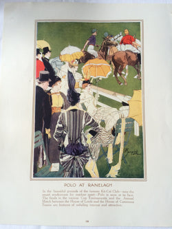 vintage lithograph polo illustration, London social calendar