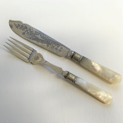 antique mother of pearl silver plate fish eaters cutlery