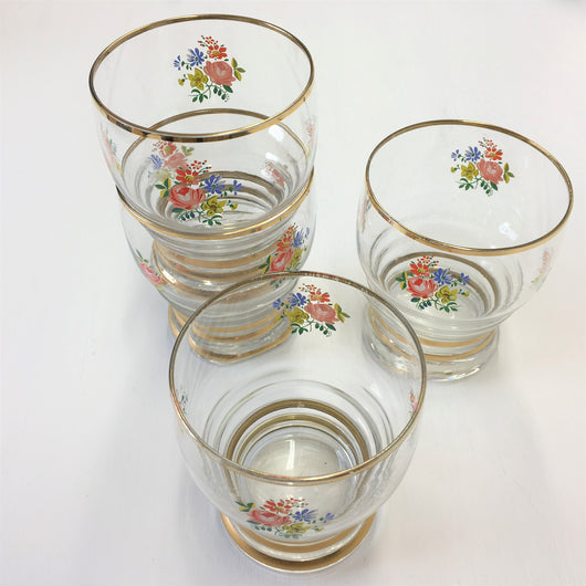four vintage floral water glasses tumblers