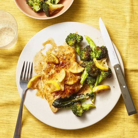 Kricklewood Farm Pan-Fried Chicken With Lemony Roasted Broccoli Recipe