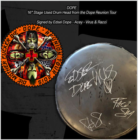 "Dope Reunion Stage used Drum head  16"" - Signed by Edsel - Acey - Virus - and Racci"