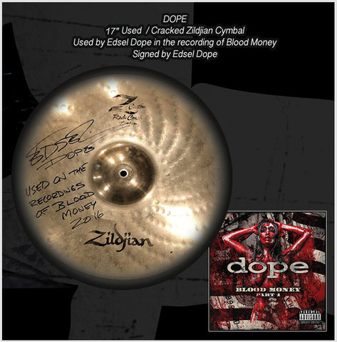 "17"" Used / Cracked Zildjian Cymbal - Used in the recording of Blood Money -Signed by Edsel Dope"