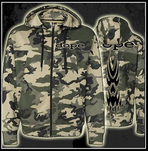 Limited edition designer DOPE Camo Hoody. Complete with thumb holes. - Apparel