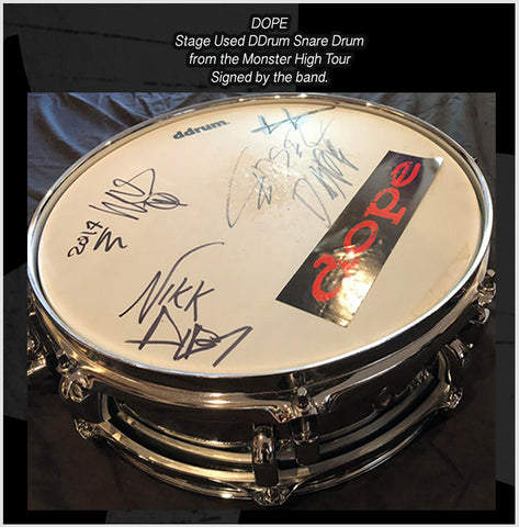Stage Used DDrum Snare Drum from The Monster High Tour - Signed by Edsel- Virus - Nikk - & Crissy