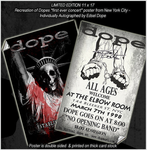 Limited Edition - Recreation of Dopes first ever Show Poster in New York City - Signed by Edsel Dope
