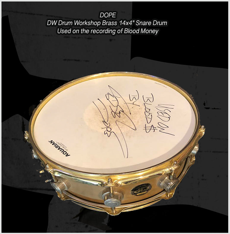 "DW Drum Workshop 14x4"" Brass snare Drum - Used on the recordings of Blood Money"