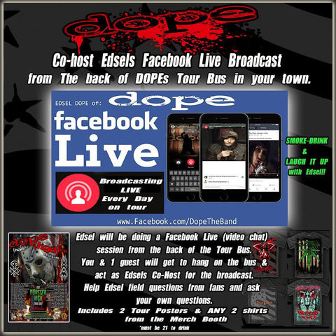 Tour Bus-Facebook Live Bundle for 2 with Edsel. Hang on DOPEs Bus Includes 2 shirts & posters
