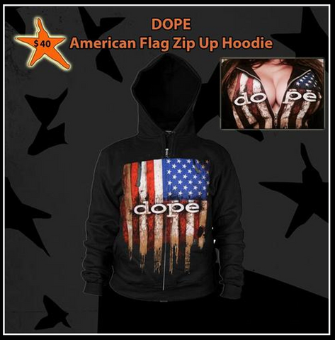 DOPE - (Old School) American Flag - Zip Up Hoodie - Apparel