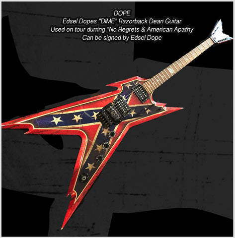 "Edsel Dope's Red White & Blue Rebel Razorback Dean Guitar - ""DIME"""