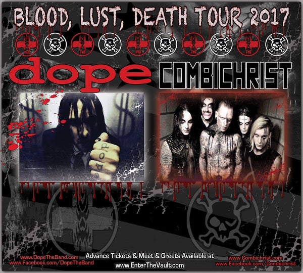 Autographed Dope / Combichrist Meet & Greet Backdrop Blood, Lust, Death Tour