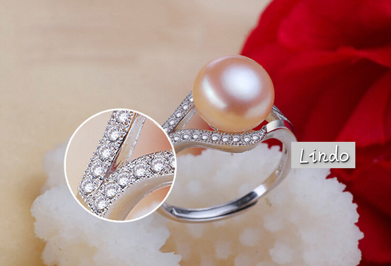 100% Real Freshwater Pearl Ring For Women 925 Sterling Silver Adjustable Ring 10-11mm AAAA Natural Pearl Jewelry With Gift Box - SustainTheFuture.us - The Natural and Organic Way of Life