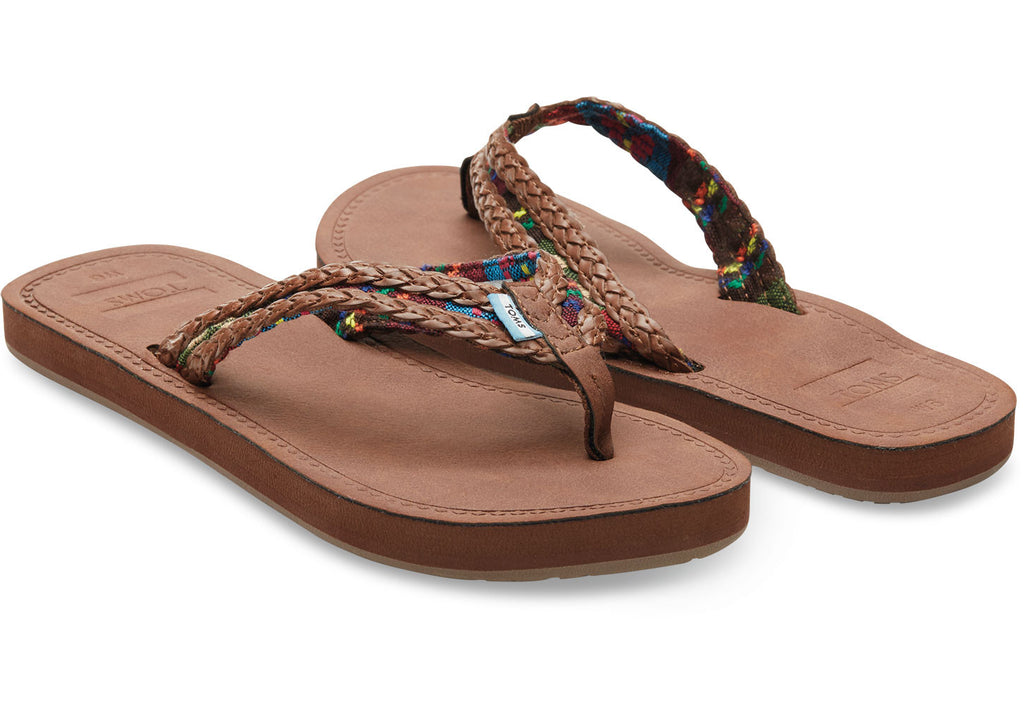 DARK BROWN WITH GREEN MIX TEXTILE WOMEN'S SOLANA FLIP-FLOPS - SustainTheFuture.us - The Natural and Organic Way of Life