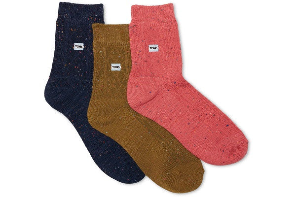 3 PACK CABLE KNIT ANKLE SOCKS - SustainTheFuture.us - The Natural and Organic Way of Life