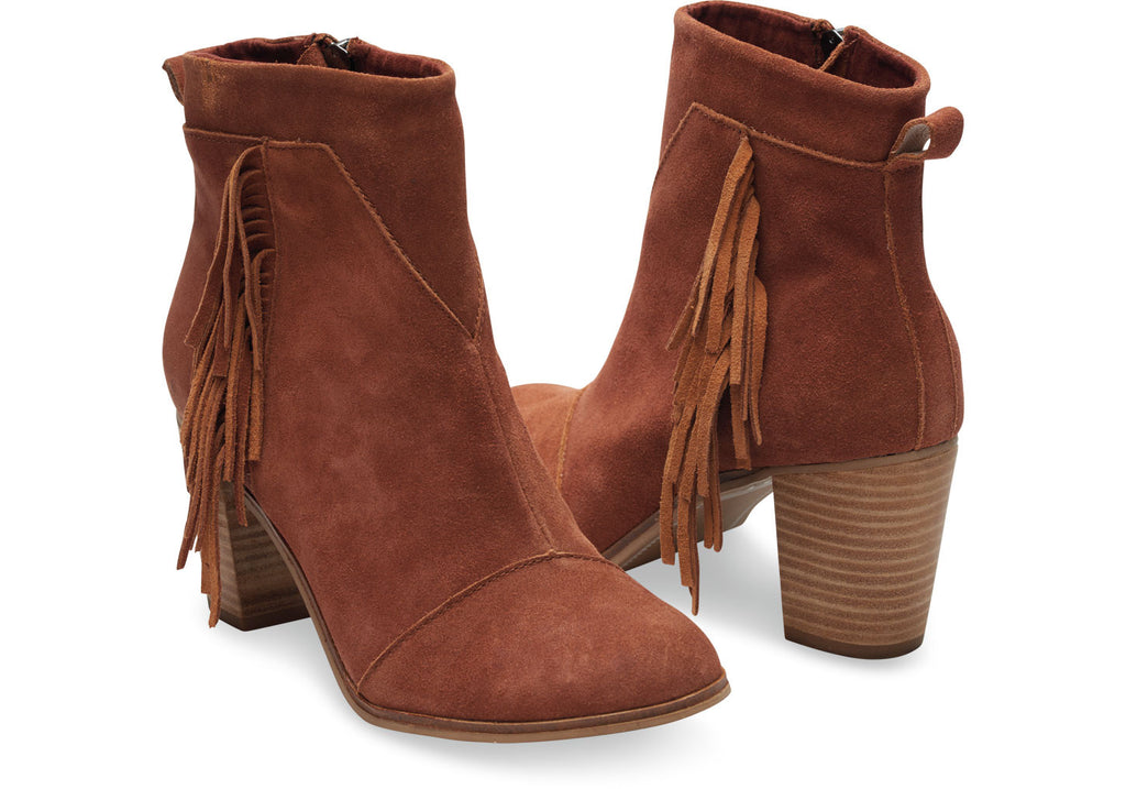 COGNAC SUEDE WITH FRINGE WOMEN'S LUNATA BOOTIES