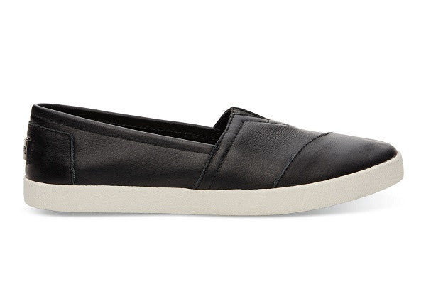 BLACK LEATHER WOMEN'S AVALON SLIP-ONS - SustainTheFuture.us - The Natural and Organic Way of Life