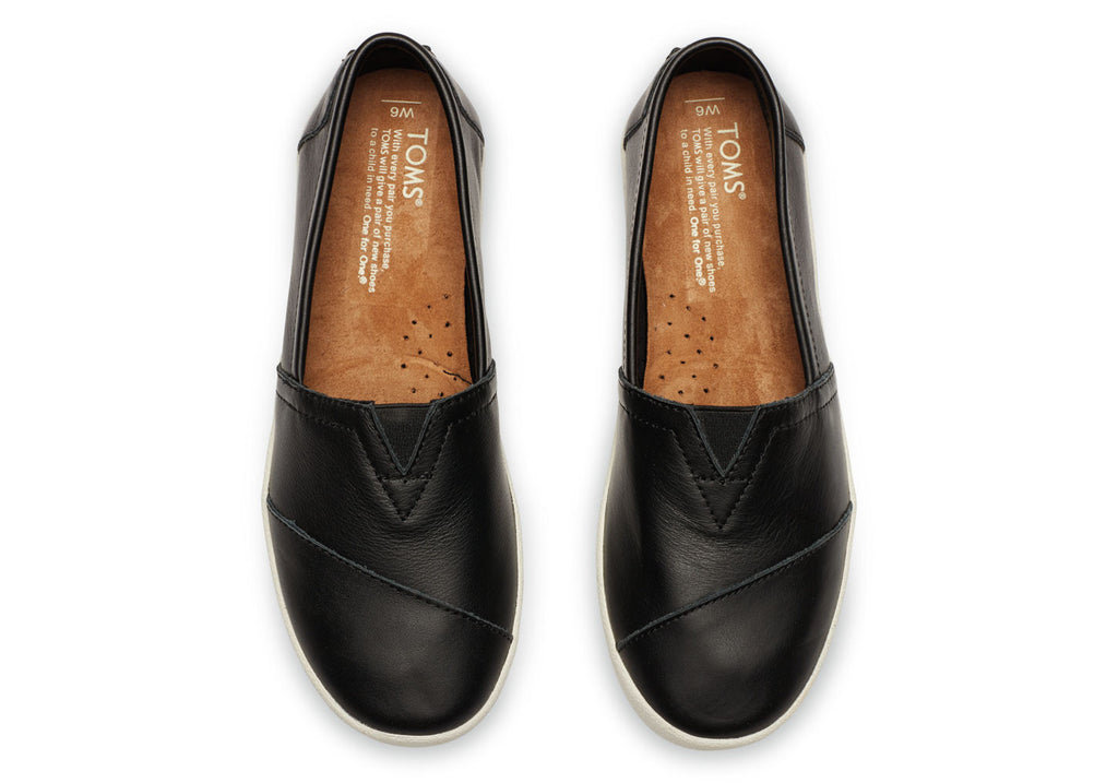 BLACK LEATHER WOMEN'S AVALON SLIP-ONS