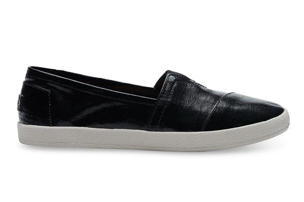 BLACK PATENT LINEN WOMEN'S AVALON SLIP-ONS - SustainTheFuture.us - The Natural and Organic Way of Life