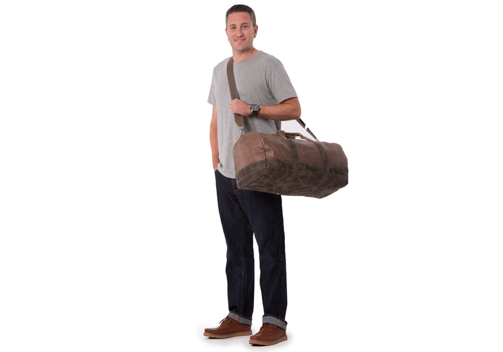 STONE LEATHER CANVAS ADVENTURER DUFFEL