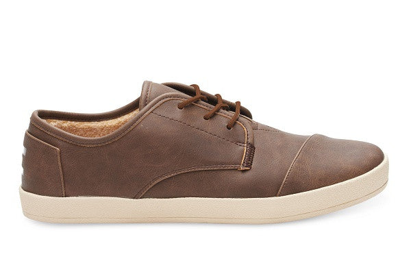 BROWN SYNTHETIC LEATHER FAUX SHEARLING MEN'S PASEO SNEAKERS - SustainTheFuture.us - The Natural and Organic Way of Life