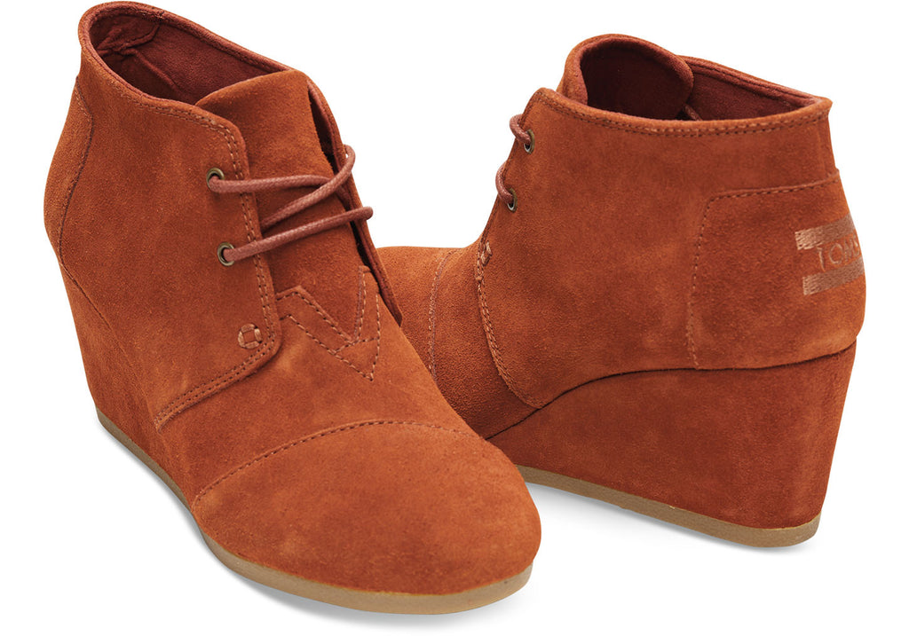 COGNAC SUEDE WOMEN'S DESERT WEDGES - SustainTheFuture.us - The Natural and Organic Way of Life