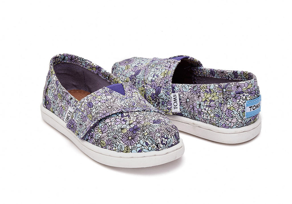 PURPLE CANVAS DITSY FLORAL TINY TOMS CLASSICS