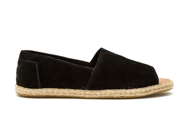 BLACK SUEDE WOMEN'S OPEN TOE ALPARGATAS - SustainTheFuture.us - The Natural and Organic Way of Life