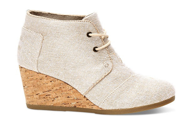 NATURAL METALLIC LINEN WOMEN'S DESERT WEDGE BOOTIES - SustainTheFuture.us - The Natural and Organic Way of Life
