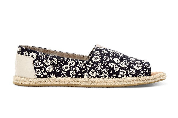BLACK TEXTILE FLORAL WOMEN'S OPEN TOE ALPARGATAS - SustainTheFuture.us - The Natural and Organic Way of Life