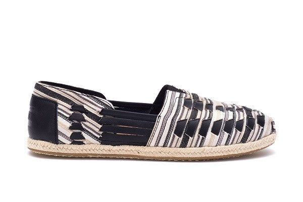 BLACK WHITE WOVEN WOMEN'S ALPARGATA HUARACHES - SustainTheFuture.us - The Natural and Organic Way of Life