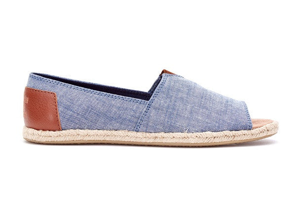 CHAMBRAY WOMEN'S OPEN TOE ALPARGATAS - SustainTheFuture.us - The Natural and Organic Way of Life