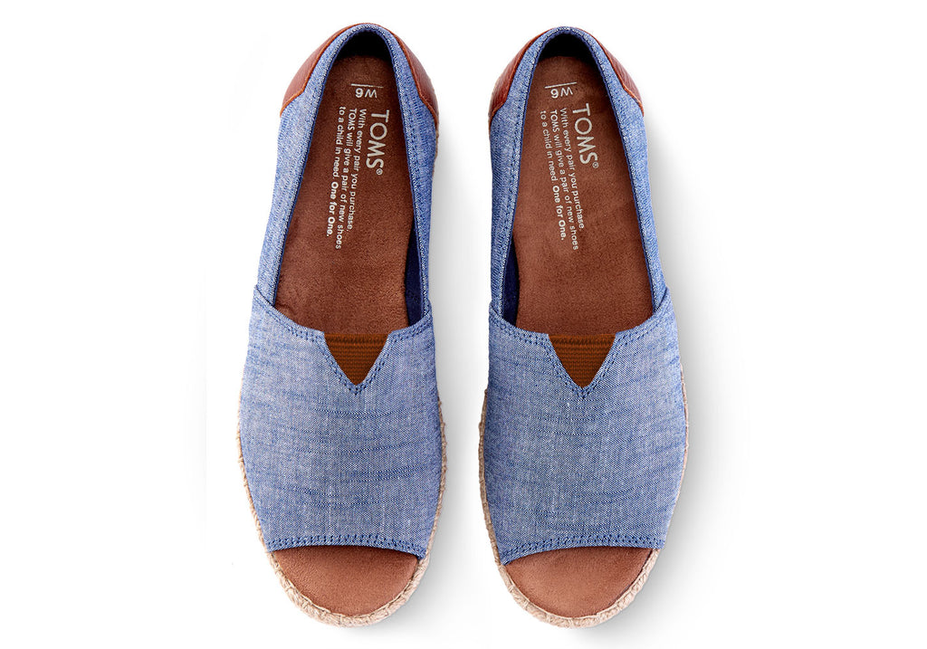 CHAMBRAY WOMEN'S OPEN TOE ALPARGATAS