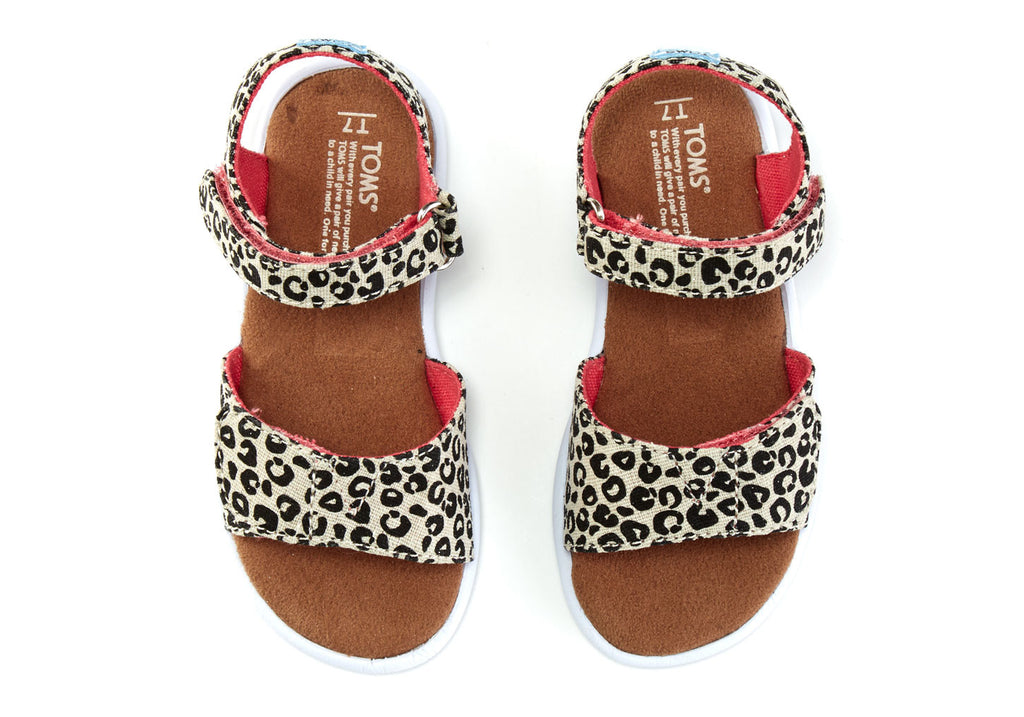 CHEETAH METALLIC LINEN TINY TOMS STRAPPY SANDALS