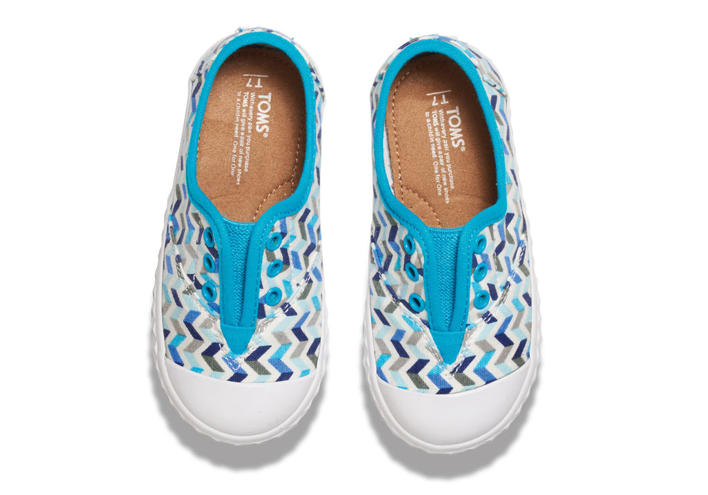 TURQUOISE CANVAS CHEVRON TINY TOMS ZUMA SNEAKERS