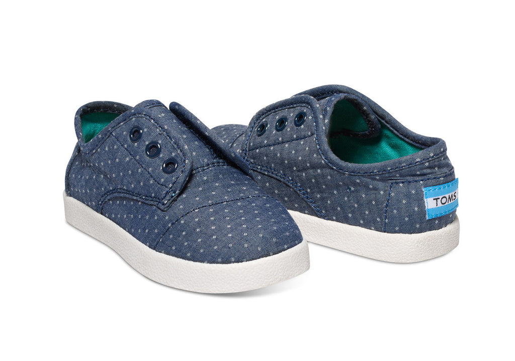 BLUE CHAMBRAY POLKA DOT TINY TOMS PASEO SNEAKERS