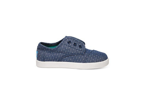 BLUE CHAMBRAY POLKA DOT TINY TOMS PASEO SNEAKERS - SustainTheFuture.us - The Natural and Organic Way of Life